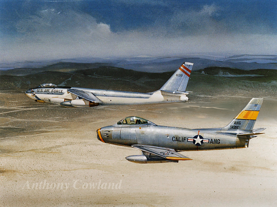 North American F-86 Sabre with Boeing B-47