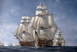 HMS Victory. Approaching the lines, Trafalgar