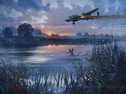 Avro Lancaster limping home