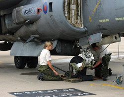 Harrier RAF Cottesmore. Wheel change