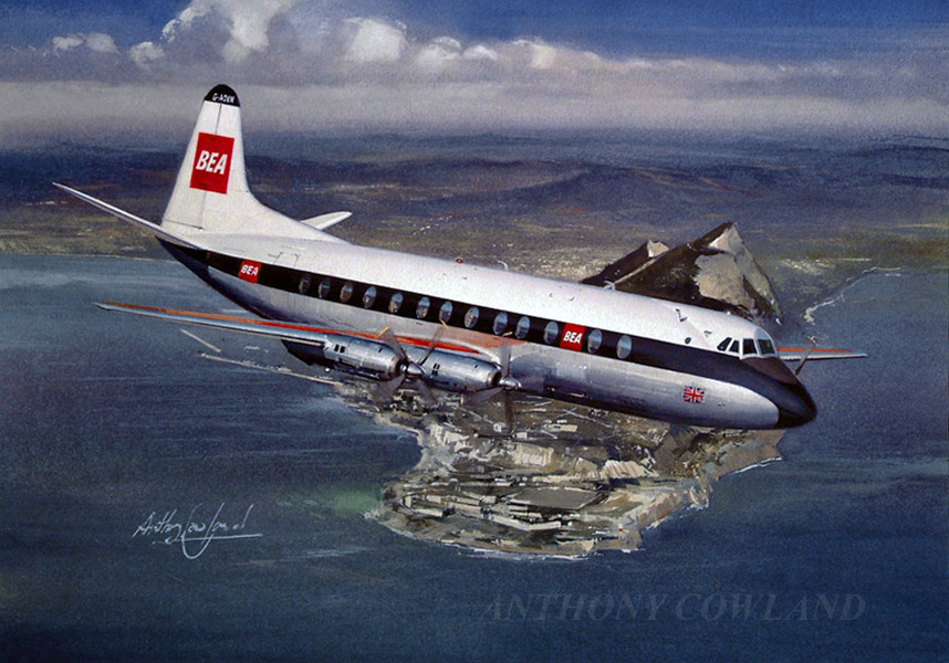 Vickers Viscount BEA over Gibraltar