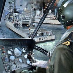 Westland Sea King over HMS Arrow and HMS