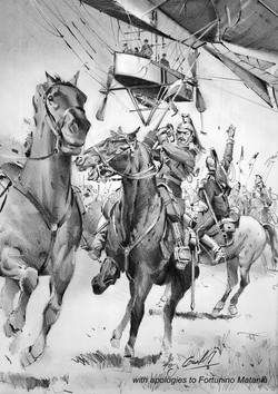 French cavalry and Lebaudy airship