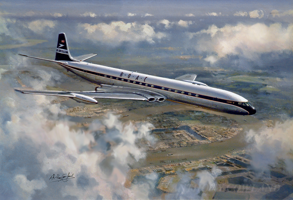 De Havilland Comet 4. BOAC over London's dockland