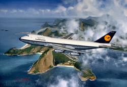 Boeing 747. Lufthansa over Rio
