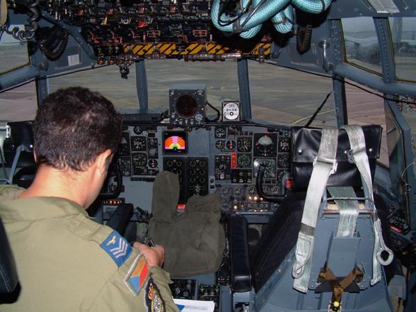 RAF Hercules 47 Squadron cockpit