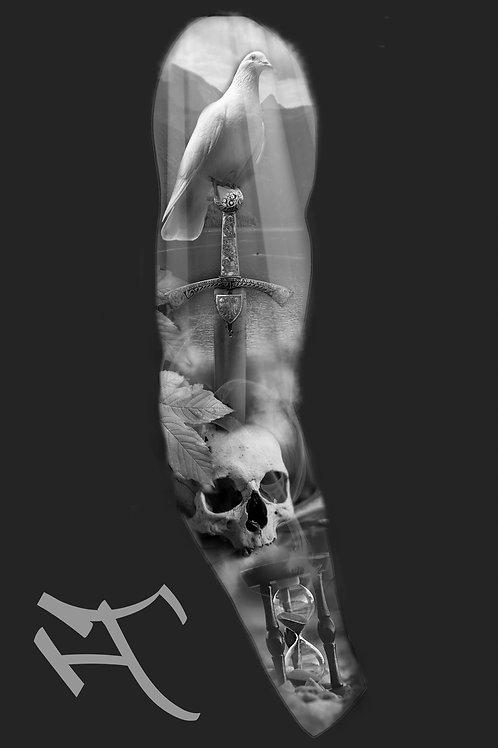 Kyyhkynen ja miekka, hihan ulkosyrjä