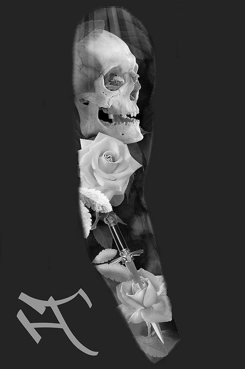 Kallo, ruusu ja tikari, hihan ulkosyrjä