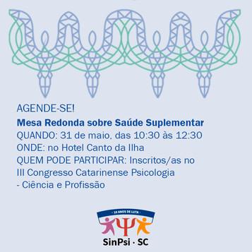 Mesa Redonda: Psicóloga(o) na Saúde Suplementar