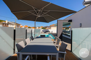Dining area, swimming pool and lounge area