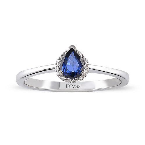 Diamond Drop Sapphire Gold Ring