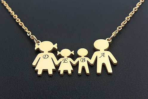 Yellow Gold Plated Sterling Silver Family Necklace