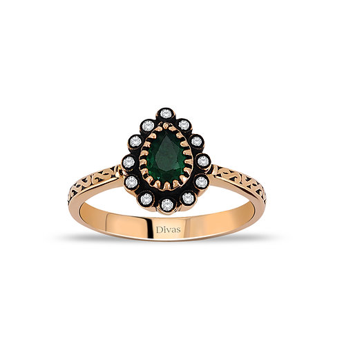 Gold Engagement Ring with Emerald & Diamonds