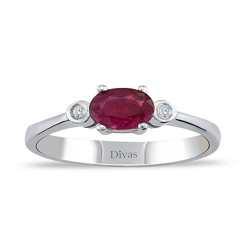 Ruby Ring with side Diamonds