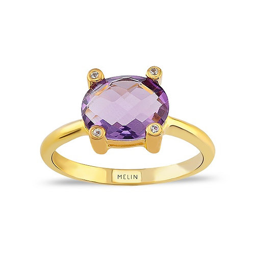 Brazilian Amethyst & White Topaz Ring