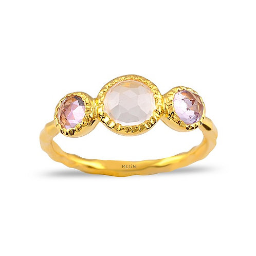 Brazilian Amethyst, Rose Quartz Ring