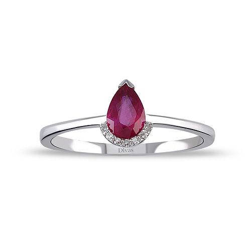 Drop Ruby Gold Ring with Diamonds