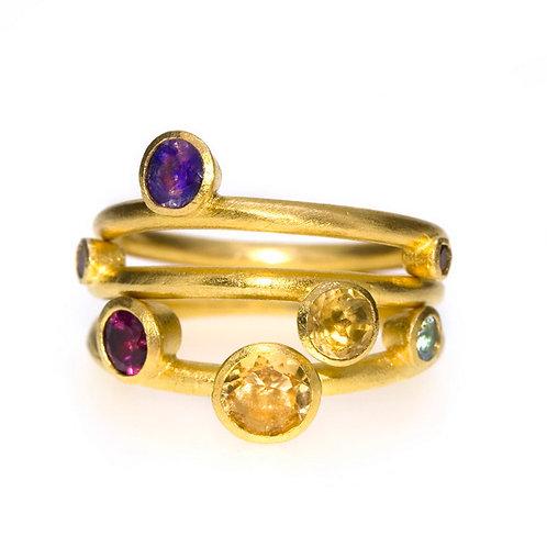 Citrine, Garnet, Iolite, Blue Topaz, Garnet Ring