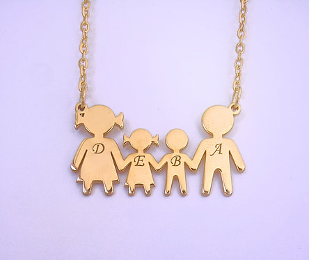 Rose Gold Plated Sterling Silver Family Necklace