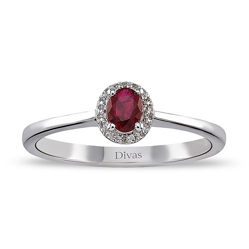 Gold Ruby Halo Ring