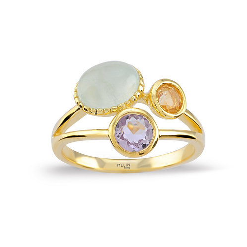 Brazilian Amethyst, Citrine & Prehinite Ring