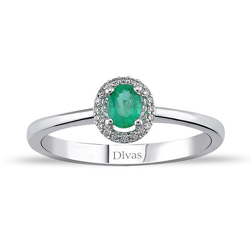 Emerald Gold Halo Ring