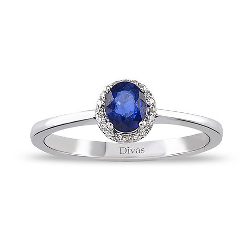 Sapphire Gold Halo Ring