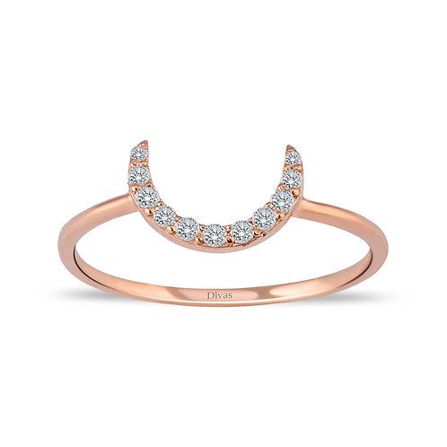 Gemstone Half Moon Ring