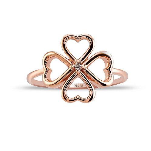 Diamond Gold Clover Ring