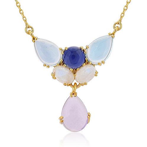 Amethyst, Iolite, Moon Stone, Blue Topaz Necklace