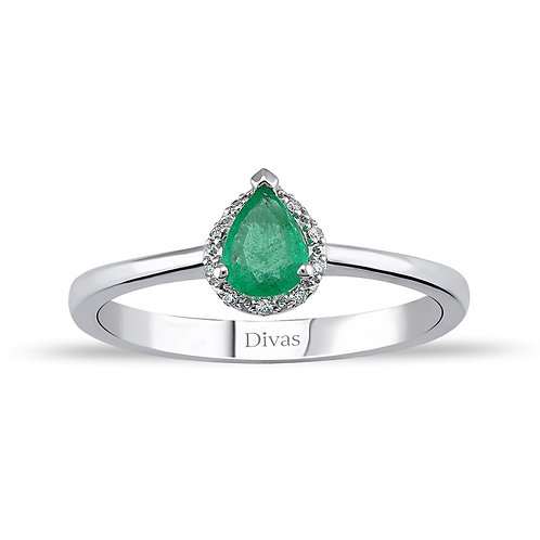 Drop Emerald & Diamond  Gold Ring