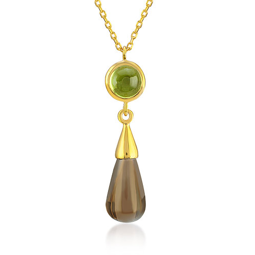 Peridot and Smoky Quartz Necklace