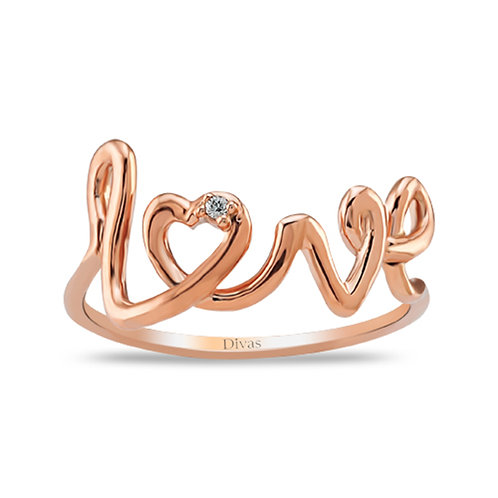 Diamond Gold Love Ring