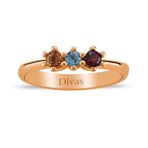 Coloured Precious Stones Tria Ring