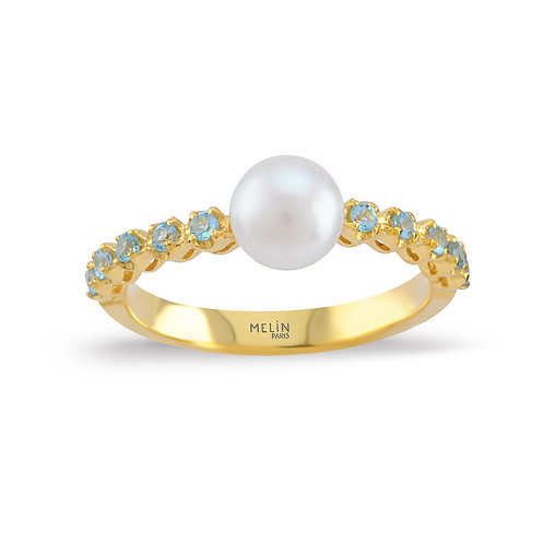 White Pearl & Topaz Blue Ring