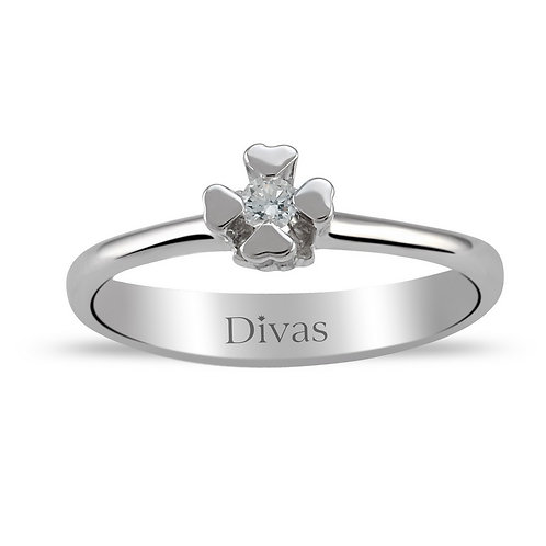 Diamond (hearts) Solitaire Ring
