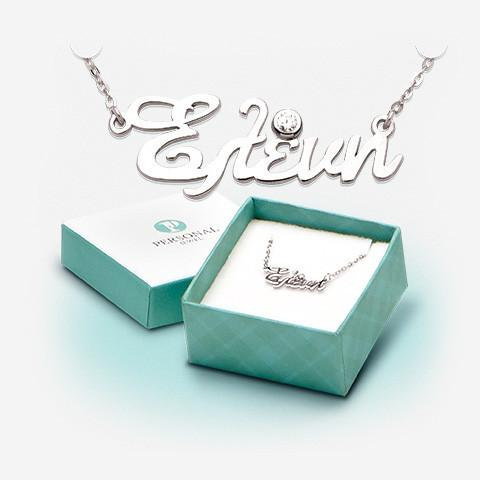 Sterling Silver Name Necklace with 1 stone