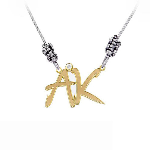 14K Yellow Gold plated Digraph Necklace
