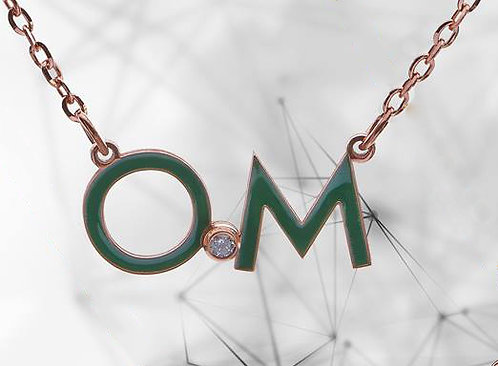 Digraph Necklace with Enamel