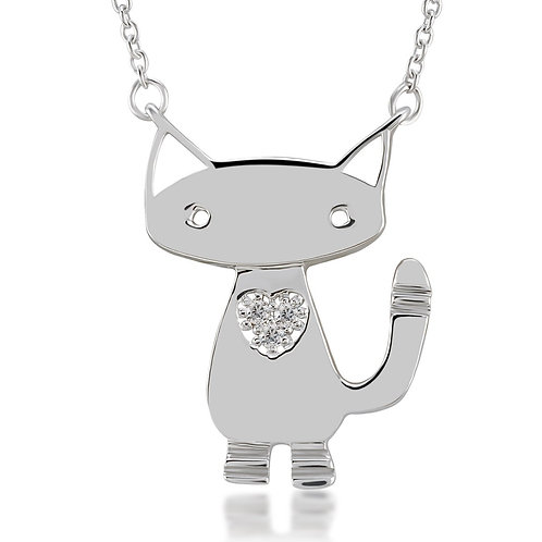 Diamond Cat Necklace