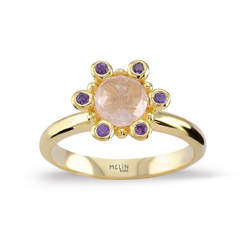 African Amethyst & Rose Quartz Ring