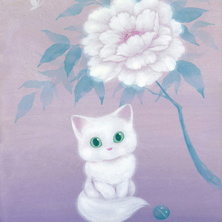 White Cat and Peony