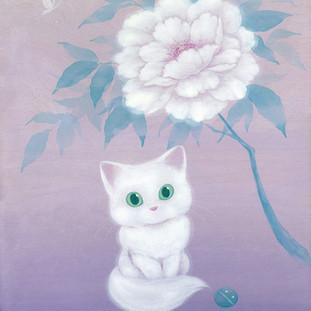 White Cat and Peony