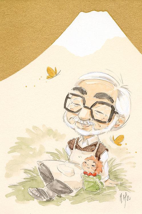 Hayao Miyazaki Mt Fuji - Ponyo print