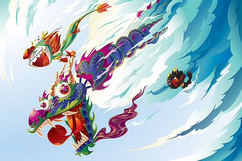 Dragon Boy and Dragon Dog - Big Flight Print