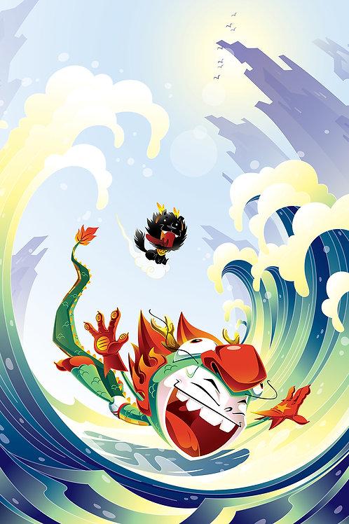 Dragon Boy and Dragon Dog - Big Splash Print