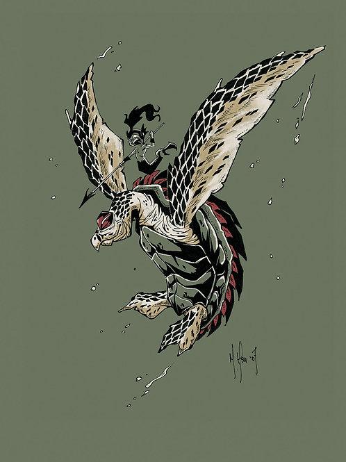 Hawksbill Turtle Warrior Print