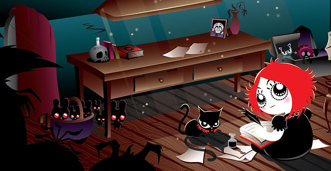 Ruby Gloom book illustration for tv animation by Martin Hsu