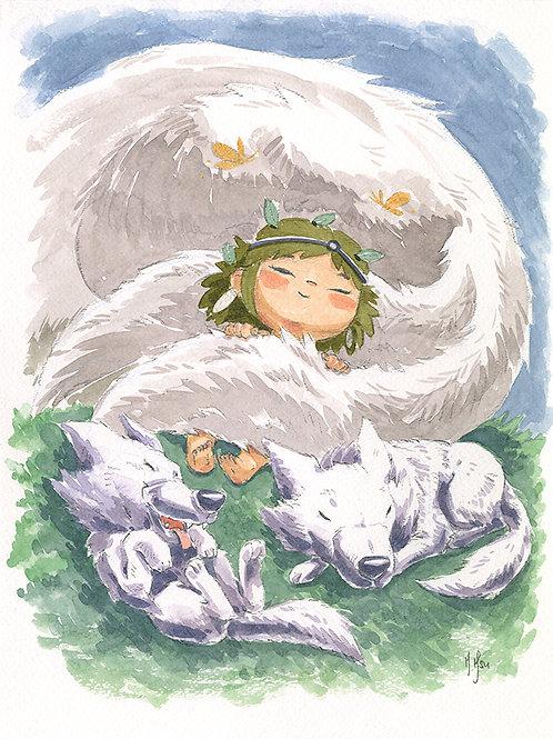 Mononoke - Wolf Family Print