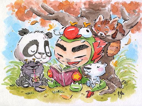 Dragon Boy and Dragon Dog - Forest Print